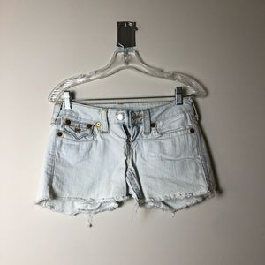 White with Gold Trim True Religion Shorts